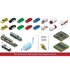 Isometric high quality city transport icon set vector