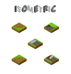 Isometric way set of subway sand turn vector
