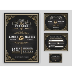 Luxurious wedding invitation vector