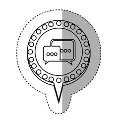 Monochrome sticker with dialogue in circular vector