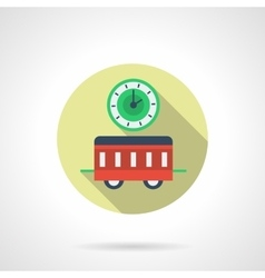 New year in a train flat round icon vector