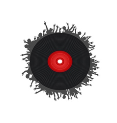people around the black record vector image