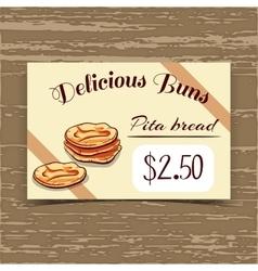 Price tag design pita bread vector