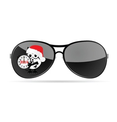 sunglasses with cute animal and christmas clock vector image