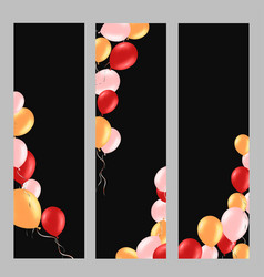 Vertical banner with colorful helium balloons vector