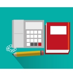 Phone book and pencil of office and work design vector image