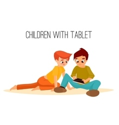 Children girls of different ages played in tablet vector