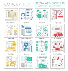 Infographics mini concept media advertising icons vector