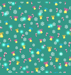 seamless green pattern with christmas decorations vector image