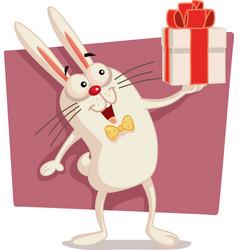 Happy easter bunny holding gift box cartoon vector