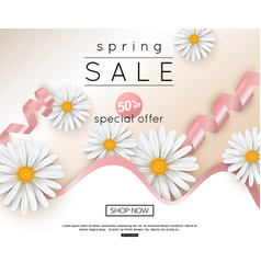 Spring sale banner with realistic daisy vector