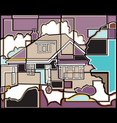 Mosaic house vector