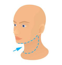 Neck plastic correction icon cartoon style vector