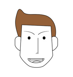 Sketch color silhouette front view face man with vector