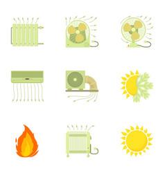 Heating icons set cartoon style vector