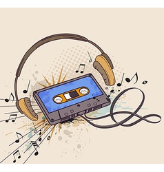 Audio cassette and headphones vector