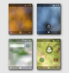 Mobile interface wallpaper design and icons vector