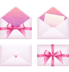 Pink envelope with ribbon set vector