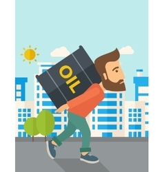 Businessman carrying barrel of oil vector