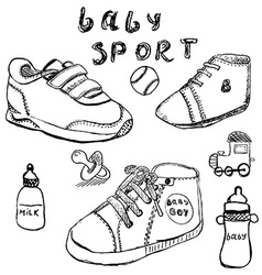Baby shoes set sketch handdrawn isolated on white vector