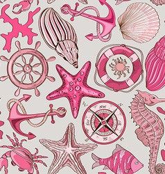 Seamless pattern of sea animals and nautical vector