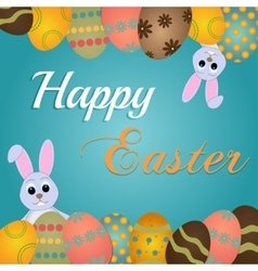 Easter rabbit and egg in grass vector