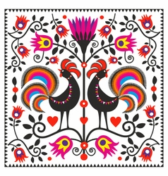 Folk roosters vector