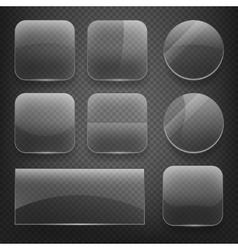 Glass square rectangular and round buttons on vector
