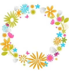 Beautiful flower frame isolated on white vector