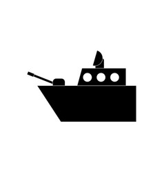 Black icon on white background military warship vector