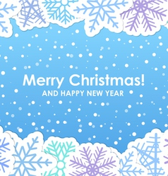 Blue christmas greeting card with paper flakes vector image vector image