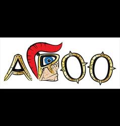 Cartoon spartan warrior profile and metal letters vector