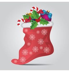 Christmas sock on gray background vector image