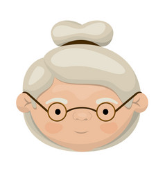 colorful face of elderly woman with glasses and vector image
