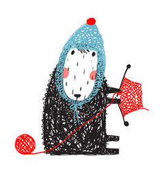 cute knitting little sheep in knitted hat vector image vector image