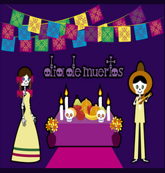 day of the dead in mexico 3 vector image
