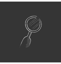 Dental mirror drawn in chalk icon vector