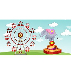 Elephant show and ferris wheel at the funpark vector