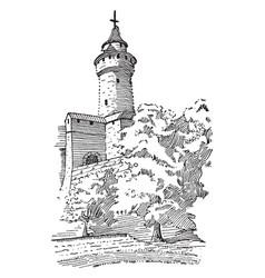 Feudal castle tower defensive structure vintage vector
