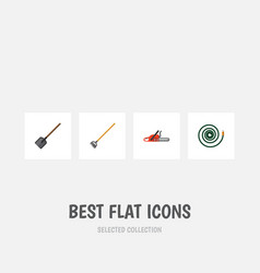 Flat icon farm set of tool shovel hacksaw and vector