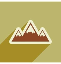 Flat web icon with long shadow mountains vector