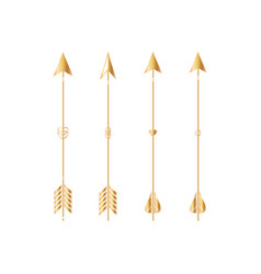 Gold arrows isolated on white background vector