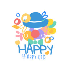 happy happy kid logo template colorful hand drawn vector image