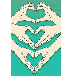 Human hands with heart sign set vector