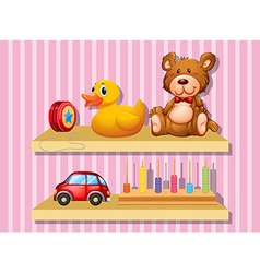 Many toys on wooden shelf vector image vector image