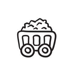 Mining coal cart sketch icon vector