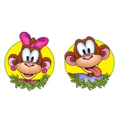 Monkey head in the round frame vector image vector image
