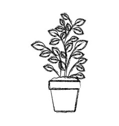 Monochrome blurred silhouette of plant pot vector