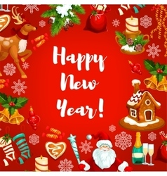 New year poster or greeting card design vector