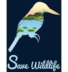 Save wildlife design with wild bird vector image